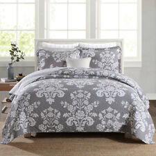 Reversible Quilted Cotton Coverlet Bedspread Set Queen Size 230x250cm Flowers