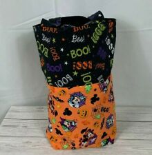 Handmade Halloween Treat Bag Tote Mickey Minnie Mouse Orange Black Sparkle