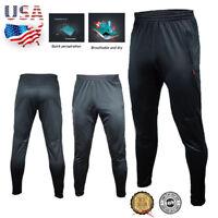 Black Men's Sport Athletic Soccer Fitness Training Running Pants Trousers Winter