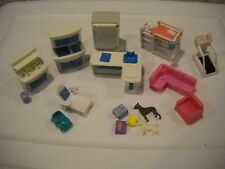 DOLL HOUSE FURNITURE, MINIATURES LOT~KITCHEN SET, LOFT BED, COUCH, PATIO LOUNGE+