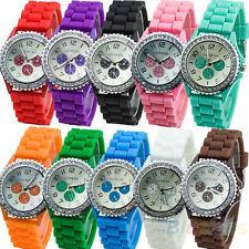 Geneva Silicone/Rubber Case Unisex Wristwatches