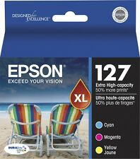 3-PACK Epson GENUINE 127 Color Ink (NO RETAIL BOX) for WORKFORCE WF-7510 WF-7520