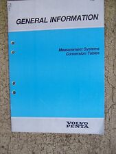 1986 Volvo Penta Marine Engine Measurement Systems Conversion Tables Manual  U