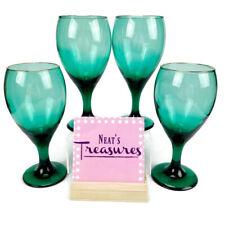Vintage Clear Emerald Green Gold Trim Rim Footed Stem Goblets Wine Glasses Set 4