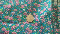 """Vintage Cotton Fabric SMALL PINK PURPLE FLORAL ON TEAL 1 Yd/44"""" Wide"""