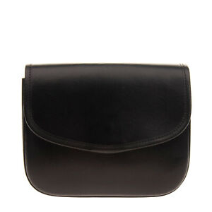 RRP €760 SIMONE ROCHA Leather Clutch Bag Black Magnetic Flap Made in Italy