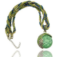 Multicolored Handmade Bead and String Green Circle Bohemian Bronze Necklace N79