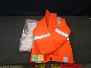 Honeywell Jacket Orange Reflective Safety Parka Fire Retardant Coat HRC-2 PPE Sm