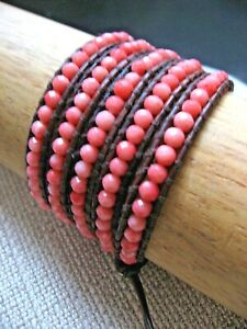 Chan Luu Bracelet Wrap Salmom Coral Semi Precious Stone 4 to 5 Brown Leather NWT