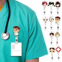 1PC Cute Retractable Badge Reel Nurse Exihibiton ID Name Card Badge Holder Clip