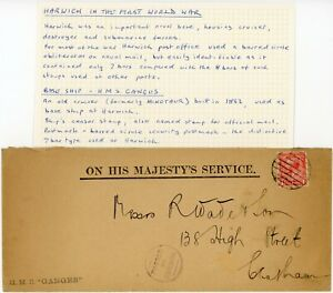 WW1 NAVAL CENSORED SHIP HMS GANGES formerly MINOTAUR HARWICH to CHATHAM OFFICIAL