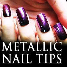 24 PCS 2-Tone Gradient Metallic False Nail Tips Full Tips 200-6