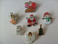 SET OF 7 FESTIVE CHRISTMAS PIN BADGES SANTA SNOWMAN ANGEL TREE REINDEER RUDOLPH