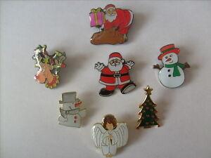 7 CHRISTMAS PIN BADGES SANTA SNOWMAN ANGEL TREE REINDEER RUDOLPH