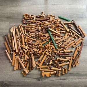 Lincoln Logs Lot - You Get Everything In Picture (250 Random Pieces)