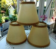 Set of 3 Vintage Parchment Lampshades Cream Gold