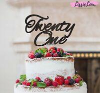 LissieLou Twenty One Birthday Cake Topper 21st Glitter Card Made in the UK