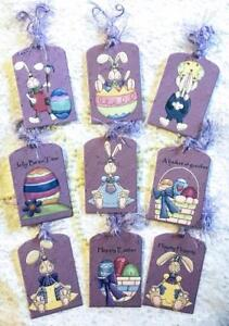 Set of 9 Hang Tags~Prim Easter~Scrapbook~Cards~Embellishments~Gift Tags~#207PW