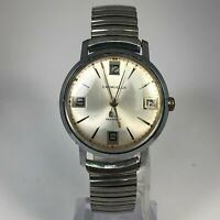 Vintage Caravelle Mens M2 Manual Wind Up Date Silver Analog Wristwatch