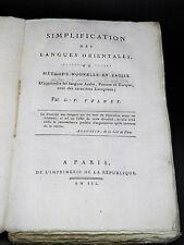 VOLNEY Simplification langues orientales ARABE PERSANE TURQUE Ed. Originale 1795