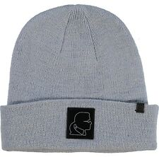 fbcb6bbf348 £89 KARL LAGERFELD Designer Grey Wool Leather Patch Beanie Hat