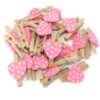 30mm Mini Clothes Pegs with 18mm Pink Spotty Hearts Craft For ShabbyChic Wedding