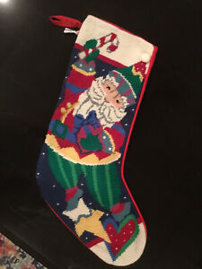 Midwest Needlepoint Santa Christmas Stocking