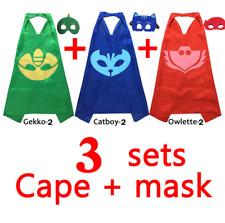 Kids PJ Masks Cape and Mask Set Superhero Costume Gekko Owlette Catboy Kid Party