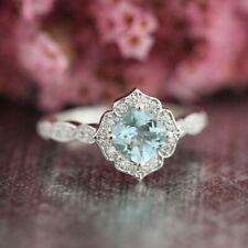 2Ct Cushion Aqua Blue Topaz Simlnt Diamond Engagement Ring White Gold Fns Silver