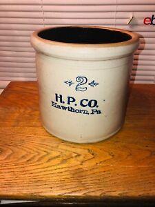 Antique H.P CO 2 HAWTHORNE PA Stoneware Crock primitive Rare !