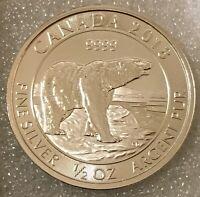 """2018 Canada 🇨🇦 Sterling Silver 2 Dollars """"Polar Bear"""" 1/2 oz .9999"""