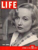 1938 Life October 17 - Carole Lombard; War in China; Wheeler MT;Minnesota; Garbo