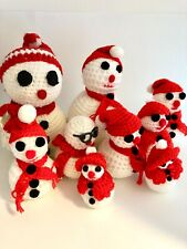Snowman Family Set of 9 Crochet Knit Styrofoam Ball Handmade Snow People