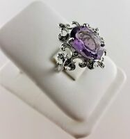 14k White Gold Ladies Amethyst and Diamond Ring Size 7.25