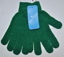Ladies Everyday Green Glitter Christmas Knitted Gloves, One Size