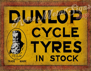 Dunlop cycle tyres in stock VINTAGE GARAGE METAL TIN SIGN POSTER WALL PLAQUE