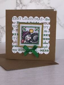 Completed Cross Stitch Cat Christmas Card 4x4 Inch.