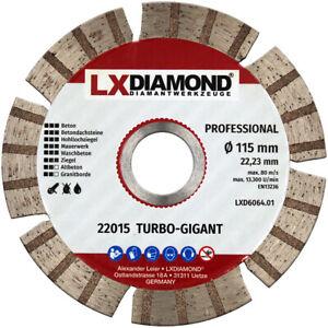 LXDIAMOND Diamant-Trennscheibe 115mm Turbo Beton Mauerwerk Universal Granitborde