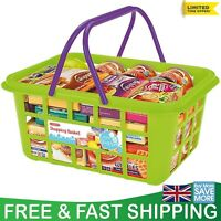 Kids Toy Shopping Basket Food Grocery Childrens Pretend Play Plastic Playset Set