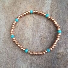 Simple Rose Gold Turquoise Beaded Bracelet Stretch Stacking Surfer