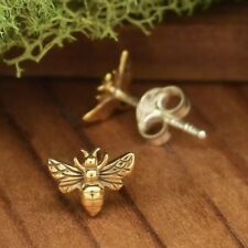 Tiny Gold Bronze Bumblebee Bumble Honey Bee Studs Stud Post Earrings - Gift
