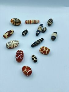 Antique Etched Carnelian Beads Lot