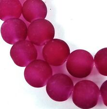 25 Frosted Sea Glass Round Beads 8mm Matte - Dark Cerise / Fuchsia