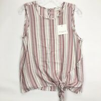 Beach Lunch Lounge Womens Pink Striped Front Tie Blouse Top Sz XS