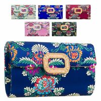 Ladies Floral Satin Clutch Bag Ethnic Flower Evening Bag Diamante Handbag KZ2158