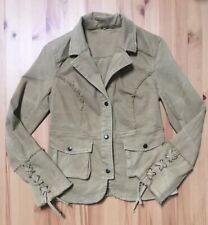 Free People Ruffle Military Twill Jacket Coat Tie Sleeves Khaki Camel Tan XS