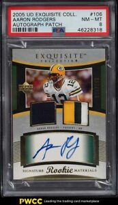 2005 Exquisite Collection Aaron Rodgers ROOKIE RC PATCH AUTO /199 #106 PSA 8