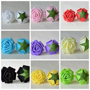 100Colourfast Foam Roses Artificial Flower Wedding Bride Bouquet Party