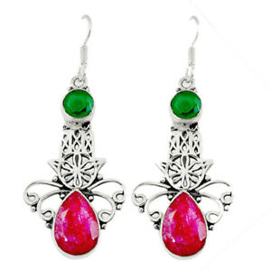 925 Silver Natural Red Ruby Green Chalcedony Hand Of God Hamsa Earrings D10034