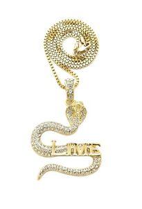 "Ice Bling Slime Snake Pendant & 20"" Box Chain Hip Hop Necklace"
